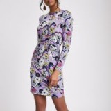 River Island Purple ruched floral bodycon dress – gathered printed dresses