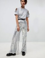 Ragyard Stripe Sequin Flare Trousers   silver metallic flares