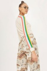 TOPSHOP Rainbow Sleeve Detail Knitted Top ~ striped sleeved tops