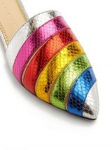 CHARLOTTE OLYMPIA Rainbow snakeskin-effect leather backless loafers ~ muticoloured metallic flat mules