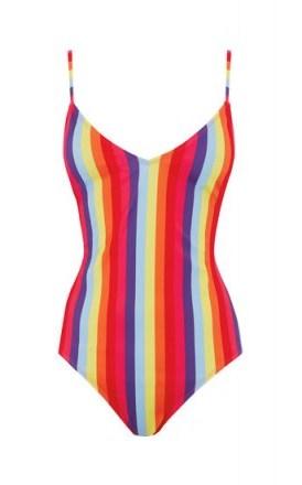 WAREHOUSE RAINBOW STRIPE SWIMSUIT ~ multicoloured swimwear - flipped