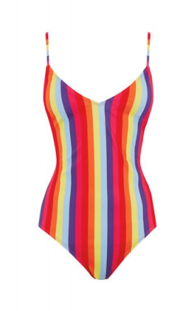 WAREHOUSE RAINBOW STRIPE SWIMSUIT ~ multicoloured swimwear