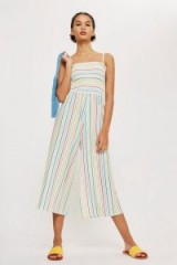 TOPSHOP Rainbow Striped Jumpsuit – shirred fabric – cropped leg jumpsuits – strappy summer style