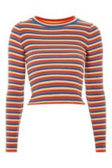 TOPSHOP Rainbow Striped Knitted Top ~ multicoloured stripes