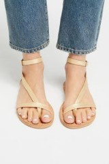 Faryl Robin + Free People Ravine Distressed Sandal Gold | strappy flats