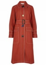 REJINA PYO Hazel contrast-stitch linen-blend trench coat terracotta – belted coats