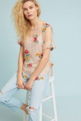 Eva Franco Rhapsody Top ~ sheer floral embroidered tops