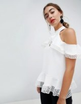 River Island Multi Layer Lace Detail Cold Shoulder Top
