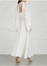 ROKSANDA Zariah ruched satin and cady dress ~ ivory open back dresses ~ little details