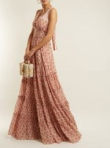 LUISA BECCARIA Rose-print ruffle-trimmed halterneck gown ~ beautiful pink halter heck gowns ~ romantic and feminine