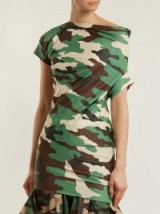 JUNYA WATANABE Ruched-detail camouflage-print jersey top / camo prints