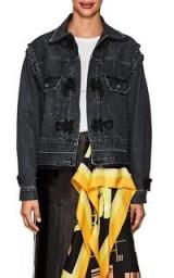 SACAI Knot-Detailed Cotton Denim Trucker Jacket ~ black denim jackets