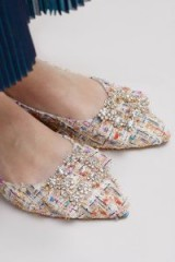 Elia B Sage Embellished-Brocade Flats | textured point toe crystal buckle ballerinas