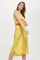 Topshop Yellow Satin Slip Dress | silky cami dresses