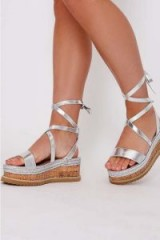 IN THE STYLE SELBY SILVER TIE LEG PLATFORM ESPADRILLES – strappy summer sandals