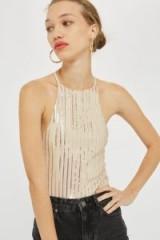 Topshop Sequin Halterneck Bodysuit | nude shimmering halter tops