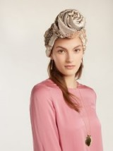JULIA CLANCEY Sequin-embellished silk turban hat ~ glamorous sparkly turbans ~ vintage style sequined hats