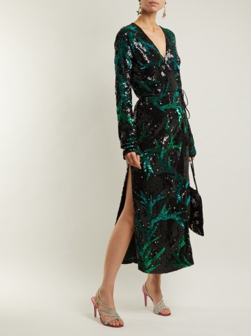 Attico Black And Green Sequin Embellished Wrap Dress