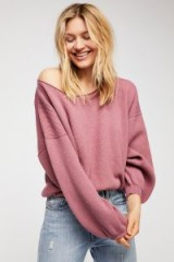 FREE PEOPLE Shadow Crew in Blossom | pink slouchy sweaters