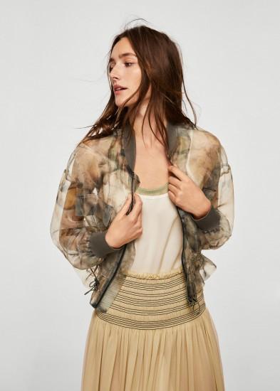 MANGO Sheer printed jacket   luxe style bomber jackets