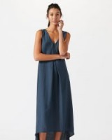 JIGSAW SILK VISCOSE MAXI DRESS BLUE STEEL / sleeveless high-low dresses
