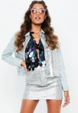 Missguided silver iridescent foil finish denim jacket ~ casual glamour