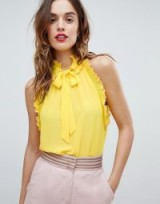Sisley Ruffle Trim Tie Neck Top | yellow sleeveless frill trim tops
