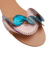 SOPHIA WEBSTER Soleil laser-cut ruffle leather slides ~ metallic-blue and pink ruffled flats