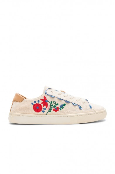 Soludos IBIZA EMBROIDERED SNEAKER in Blush / floral trainers