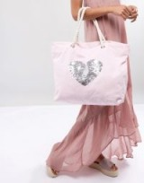 South Beach Blush Washed Cotton Beach Bag With Sequin Heart ~ hearts ~ sequins