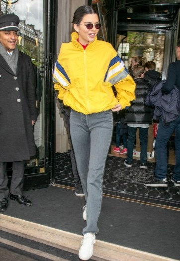 Kendall Jenner men's yellow zip front jacket, BALENCIAGA Striped Tech-Fabric Oversized Track Jacket, out in Paris, 4 April 2018. Casual celebrity fashion | models street style - flipped
