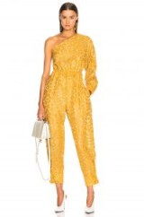 STELLA MCCARTNEY Leopard Print Burnout One Shoulder Jumpsuit in Honey Yellow