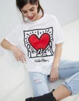 Stradivarius Keith Haring Holding Heart Tee ~ printed hearts