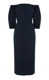WAREHOUSE STRIPE BARDOT PENCIL DRESS ~ off the shoulder dresses