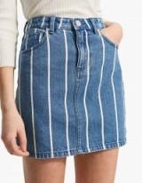 STRADIVARIUS Striped denim fabric mini skirt | stripy skirts