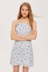 TOPSHOP Striped Floral Mini Pinafore Dress / blue pinafores