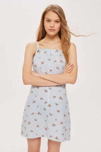 TOPSHOP Striped Floral Mini Pinafore Dress / blue pinafores