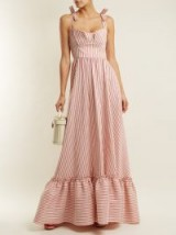 LUISA BECCARIA Striped ruffle-trimmed dress ~ pink and white stripe summer event dresses ~ tie shoulder straps ~ ruffled hemline