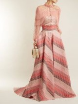 LUISA BECCARIA Striped-jacquard panelled skirt ~ long pink event skirts