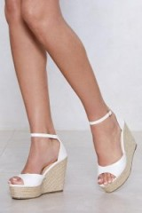 NASTY GAL Sunny Afternoon Espadrille Wedge Sandal | white wedged sandals