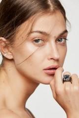 Mikal Winn Swarovski Monarch Ring | chunky silver tone crystal rings | boho jewellery