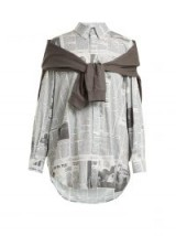 BALENCIAGA Sweatshirt-detail shirt / newspaper print shirts