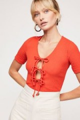 Free People Sweetheart Tee Tomato | red bow front tops