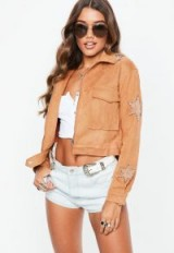 Missguided tan faux suede star applique trucker jacket ~ casual style
