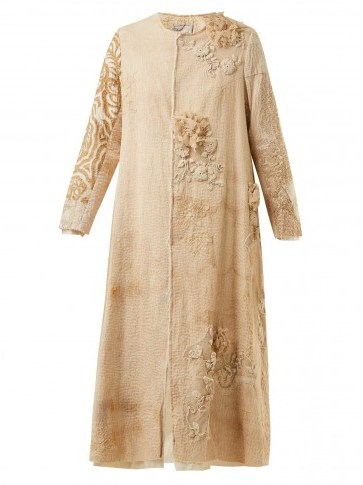 BY WALID Tari 19th-century crochet cotton coat / floral embroidered vintage style coats - flipped