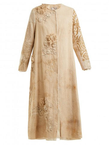 BY WALID Tari 19th-century crochet cotton coat / floral embroidered vintage style coats