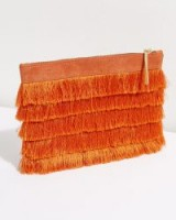 JIGSAW TASSEL CLUTCH BAG ORANGE / tasseled bags