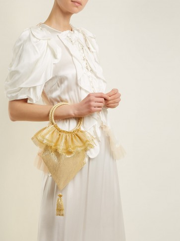 THE VAMPIRE'S WIFE Metallic-Gold Tassel-embellished woven clutch