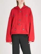 THE KOOPLES Bead embroidered cotton-fleece hoody red07 ~ red embellished hoodies ~ beaded bugs