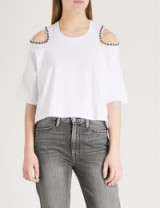 THE KOOPLES Embellished cold-shoulder cotton-jersey T-shirt – white cut out t-shirts